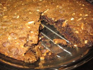 Espresso and Chocolate Morsel Brownie Pie with Toasted Almonds
